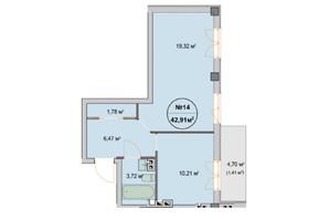 ЖК Феличита: планировка 1-комнатной квартиры 42.91 м²