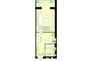 ЖК Форрест: планировка 1-комнатной квартиры 34.23 м²