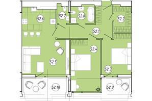 ЖК Forum Apartments: планування 2-кімнатної квартири 89.3 м²