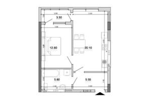 ЖК Forward (Форвард): планування 1-кімнатної квартири 47.55 м²