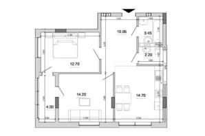 ЖК Forward: планировка 2-комнатной квартиры 61.3 м²