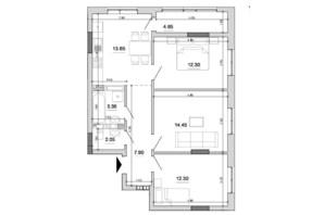 ЖК Forward: планировка 3-комнатной квартиры 70.65 м²