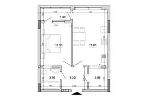 ЖК Forward: планування 1-кімнатної квартири 46.15 м²