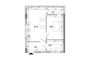 ЖК Forward: планування 1-кімнатної квартири 47.55 м²
