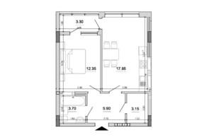 ЖК Forward: планування 1-кімнатної квартири 46.25 м²