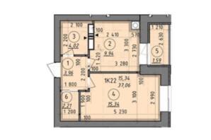 ЖК Французский Бульвар: планировка 1-комнатной квартиры 37.06 м²