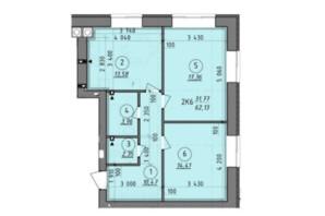 ЖК Французский Бульвар: планировка 2-комнатной квартиры 62.13 м²