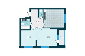 ЖК GENESIS: планування 2-кімнатної квартири 58.76 м²