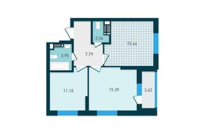ЖК GENESIS: планування 2-кімнатної квартири 59.41 м²