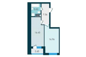 ЖК GENESIS: планування 1-кімнатної квартири 48.65 м²
