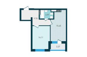 ЖК GENESIS: планування 1-кімнатної квартири 46.5 м²