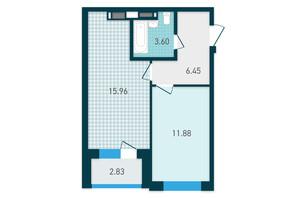 ЖК GENESIS: планування 1-кімнатної квартири 40.72 м²