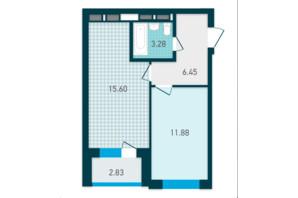 ЖК GENESIS: планування 1-кімнатної квартири 40.04 м²