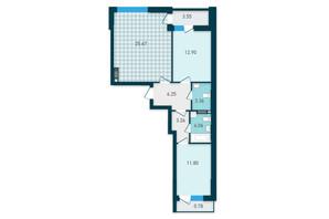 ЖК GENESIS: планування 2-кімнатної квартири 71.63 м²