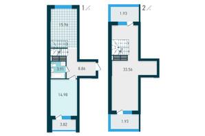 ЖК GENESIS: планування 1-кімнатної квартири 84.95 м²
