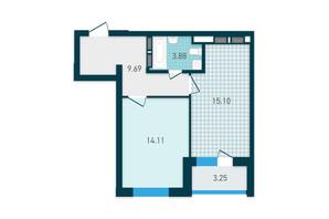 ЖК GENESIS: планування 1-кімнатної квартири 39.54 м²