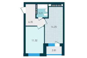 ЖК GENESIS: планування 1-кімнатної квартири 37.94 м²