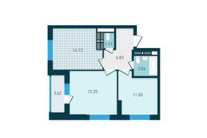 ЖК GENESIS: планування 2-кімнатної квартири 55.56 м²
