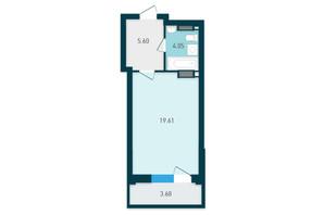 ЖК GENESIS: планування 1-кімнатної квартири 32.94 м²