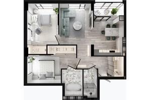ЖК GENEVE / Женева: планировка 2-комнатной квартиры 79.31 м²