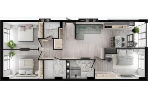 ЖК GENEVE / Женева: планировка 3-комнатной квартиры 101.55 м²