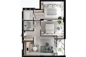 ЖК GENEVE / Женева: планировка 2-комнатной квартиры 65.52 м²