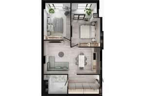 ЖК GENEVE / Женева: планування 1-кімнатної квартири 66.32 м²