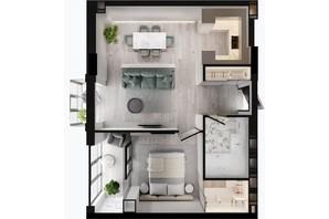 ЖК GENEVE / Женева: планування 1-кімнатної квартири 55.83 м²