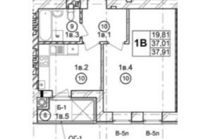 ЖК Галицька Брама: планування 1-кімнатної квартири 37.91 м²
