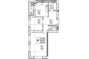 ЖК Галицька Брама: планування 2-кімнатної квартири 59.19 м²