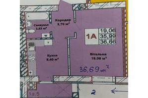 ЖК Галицкая Брама: планировка 1-комнатной квартиры 36.39 м²
