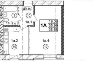 ЖК Галицкая Брама: планировка 1-комнатной квартиры 36.69 м²