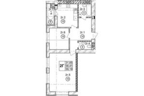 ЖК Галицкая Брама: планировка 2-комнатной квартиры 59.27 м²