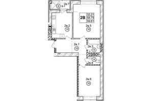 ЖК Галицкая Брама: планировка 2-комнатной квартиры 58.77 м²