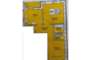 ЖК Галицкая Брама: планировка 2-комнатной квартиры 62.15 м²