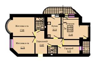ЖК Галицький двір: планування 3-кімнатної квартири 86.5 м²