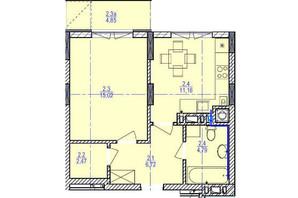 ЖК «Garant City»: планировка 1-комнатной квартиры 41.61 м²