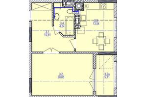 ЖК «Garant City»: планировка 1-комнатной квартиры 53.51 м²