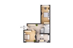 ЖК Garant City: планування 2-кімнатної квартири 69.66 м²