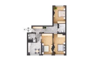 ЖК Garant City: планування 3-кімнатної квартири 92.5 м²