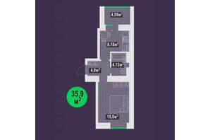 ЖК Гарден Скай: планування 1-кімнатної квартири 35.9 м²