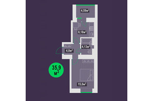 ЖК Гарден Скай: планировка 1-комнатной квартиры 35.9 м²