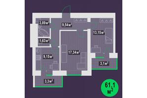 ЖК Гарден Скай: планировка 2-комнатной квартиры 61.1 м²