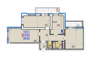 ЖК Gaudi Hall: планування 3-кімнатної квартири 85.6 м²