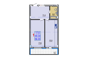 ЖК Gaudi Hall: планування 1-кімнатної квартири 56 м²