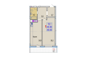 ЖК Gaudi Hall: планировка 1-комнатной квартиры 49 м²