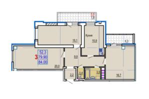 ЖК Gaudi Hall: планировка 3-комнатной квартиры 85.6 м²