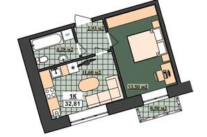 ЖК Гетьманський: планування 1-кімнатної квартири 32.81 м²