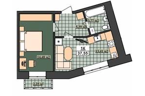 ЖК Гетьманський: планування 1-кімнатної квартири 37.55 м²
