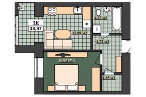 ЖК Гетьманский: планировка 1-комнатной квартиры 38.97 м²